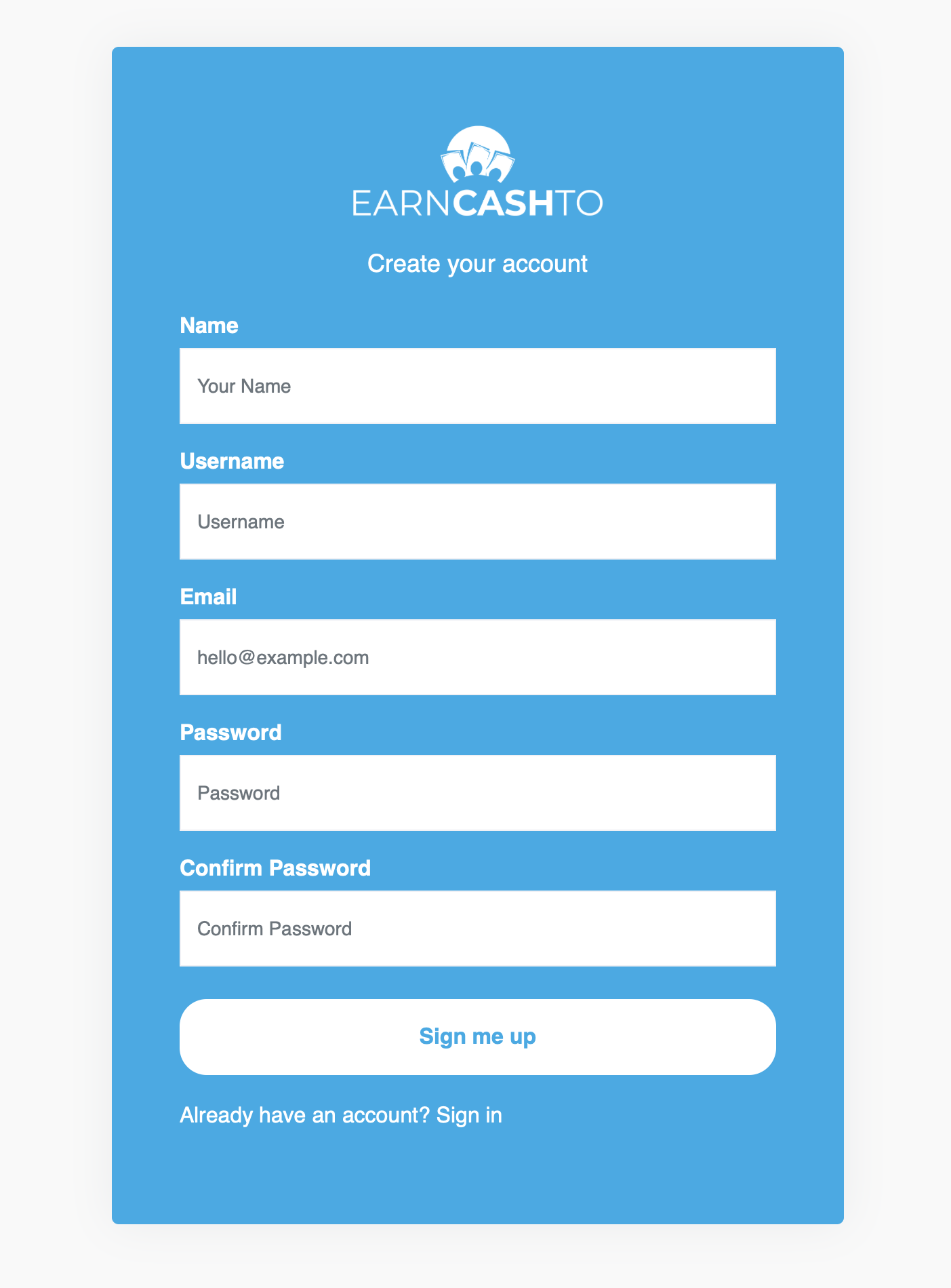 Signing Up with EarnCashTo